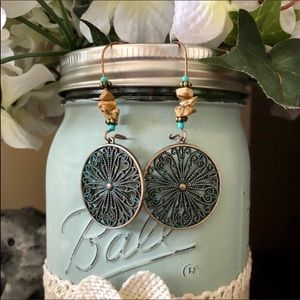 Boho Rustic Disk Dangle Earrings